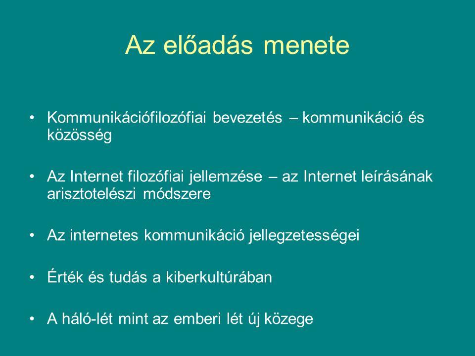 Kommunikációtörténeti emlékeztető Állati társulások és emberi közösségek Az ember kettős reprezentációs gyakorlata –adott (természetes) és szabadon választott (mesterséges) kontextus – a jel –eszközhasználat, nyelv, tudat, gondolkodás Reprezentáció és kommunikáció –ismeret és tudás – tudás ismeretmegosztás révén –a tudás közösségi jellege –Ismeret, tudás és információ A kommunikációs média történeti változatai (Walter Ong) –(belső képek), beszéd, írás, (külső, technikai) képek –a médium strukturálódása – kommunikációs gépek Kommunikációs hálózatok – a szituáció kitágulása.