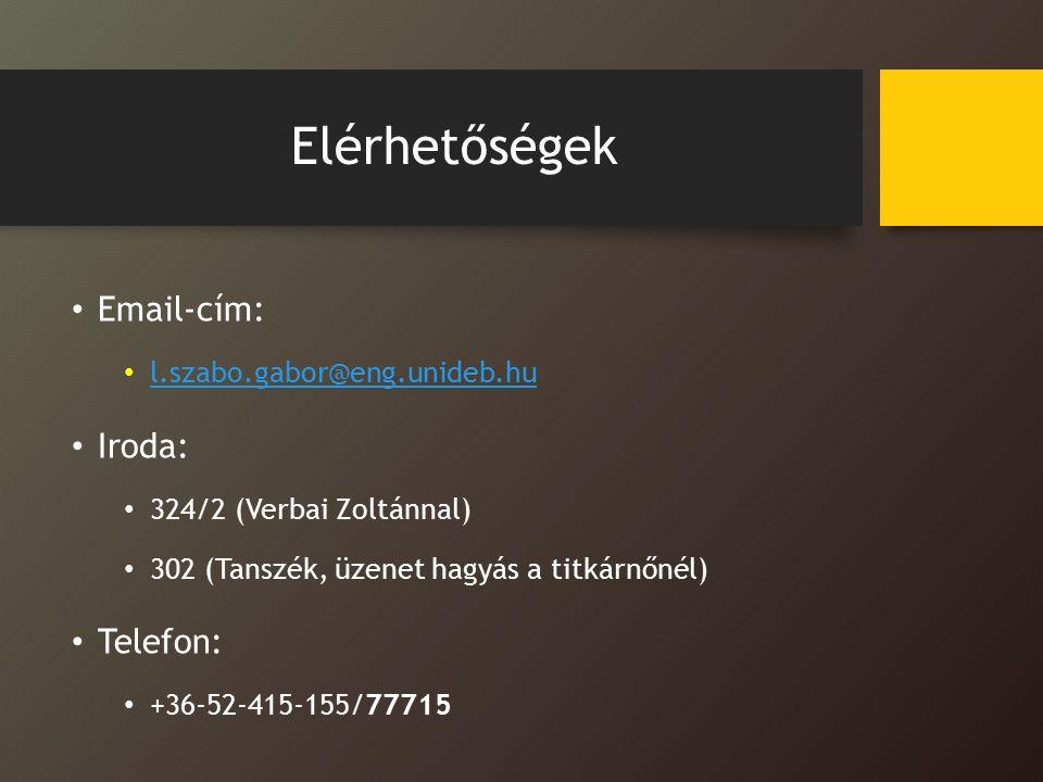 Elérhetőségek Email-cím: l.szabo.gabor@eng.unideb.hu Iroda: 324/2 (Verbai Zoltánnal) 302 (Tanszék, üzenet hagyás a titkárnőnél) Telefon: +36-52-415-155/77715