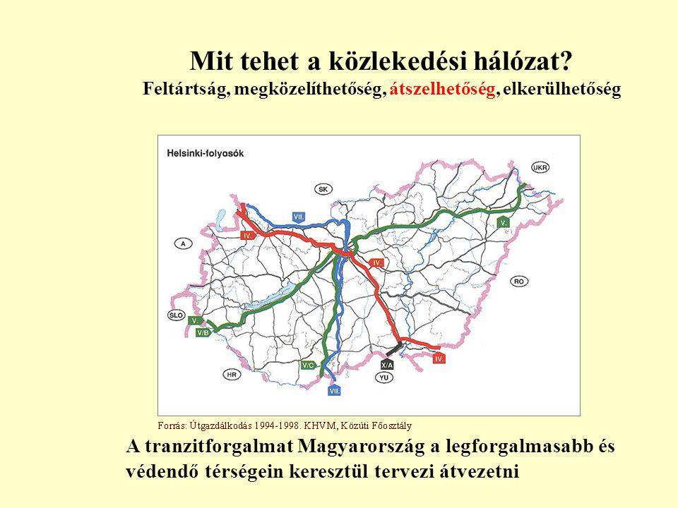 Mit tehet a közlekedési hálózat? Feltártság, megközelíthetőség, átszelhetőség, elkerülhetőség A tranzitforgalmat Magyarország a legforgalmasabb és véd