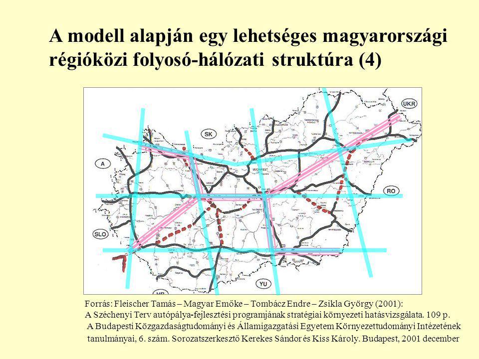 A modell alapján egy lehetséges magyarországi régióközi folyosó-hálózati struktúra (4) Forrás: Fleischer Tamás – Magyar Emőke – Tombácz Endre – Zsikla György (2001): A Széchenyi Terv autópálya-fejlesztési programjának stratégiai környezeti hatásvizsgálata.