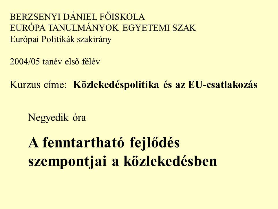 BERZSENYI DÁNIEL FŐISKOLA EURÓPA TANULMÁNYOK EGYETEMI SZAK Európai Politikák szakirány 2004/05 tanév első félév Kurzus címe: Közlekedéspolitika és az