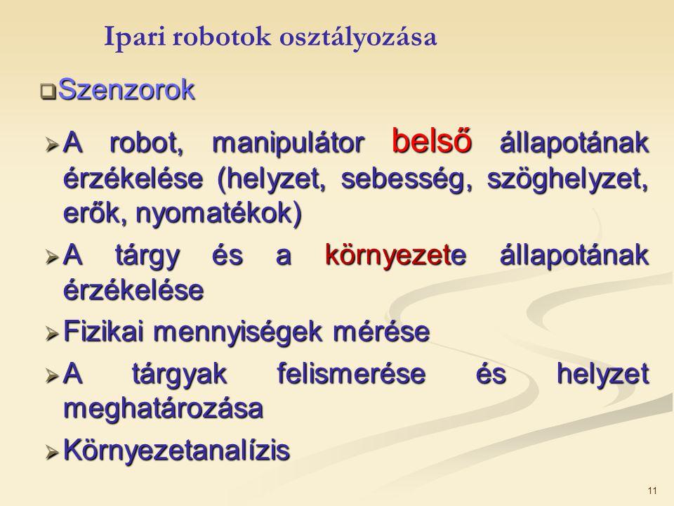 11  Szenzorok  A robot, manipulátor belső állapotának érzékelése (helyzet, sebesség, szöghelyzet, erők, nyomatékok)  A tárgy és a környezete állapo