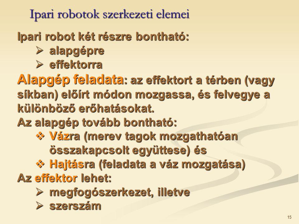 15 Ipari robot két részre bontható:  alapgépre  effektorra Alapgép feladata : az effektort a térben (vagy síkban) előírt módon mozgassa, és felvegye