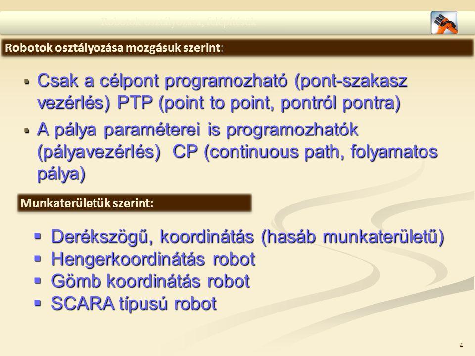  Csak a célpont programozható (pont-szakasz vezérlés) PTP (point to point, pontról pontra)  A pálya paraméterei is programozhatók (pályavezérlés) CP