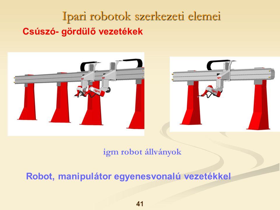 Ipari robotok szerkezeti elemei 41 Csúszó- gördülő vezetékek Robot, manipulátor egyenesvonalú vezetékkel igm robot állványok