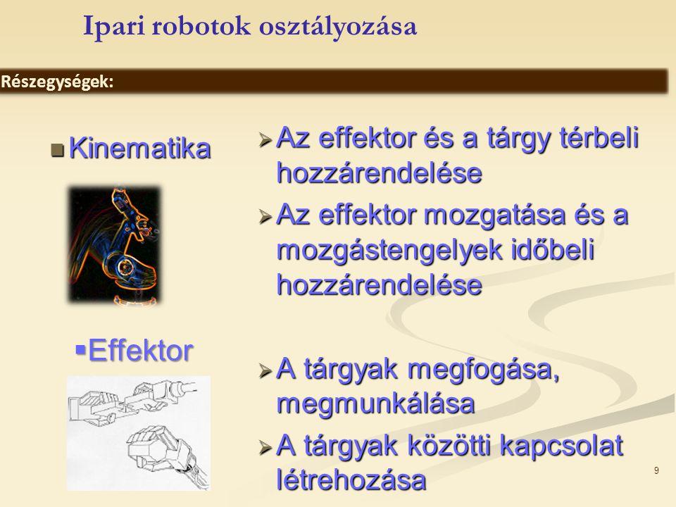 9 Kinematika Kinematika  Az effektor és a tárgy térbeli hozzárendelése  Az effektor mozgatása és a mozgástengelyek időbeli hozzárendelése  A tárgya