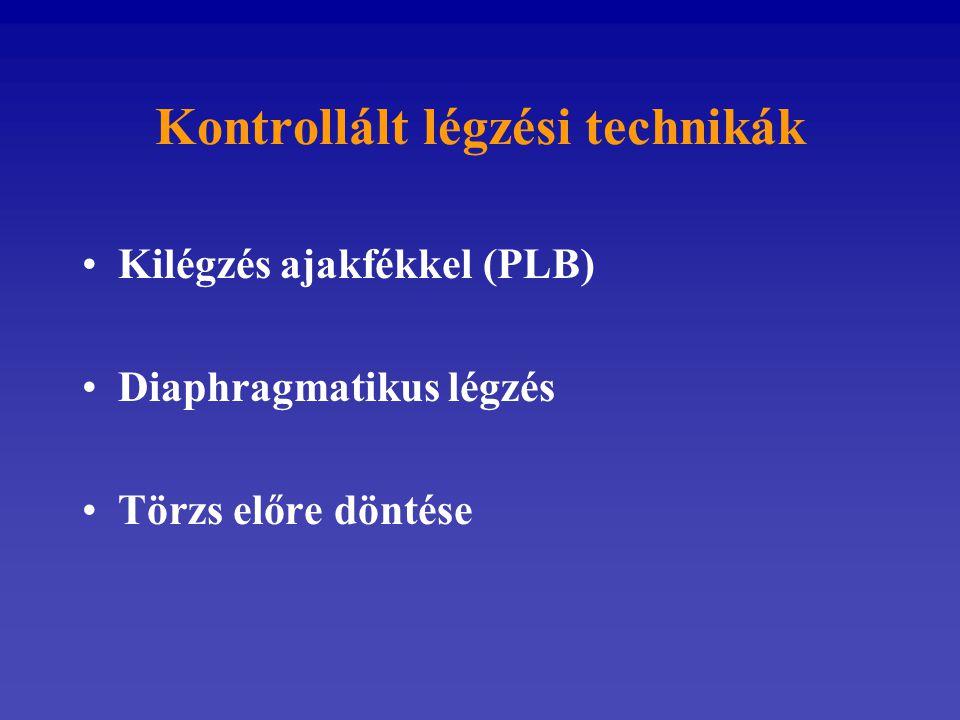 Kontrollált légzési technikák Kilégzés ajakfékkel (PLB) Diaphragmatikus légzés Törzs előre döntése
