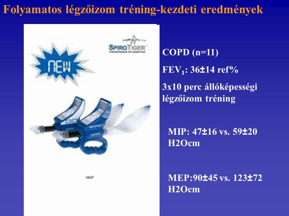 Folyamatos légzőizom tréning-kezdeti eredmények COPD (n=11) FEV 1 : 36±14 ref% 3x10 perc állóképességi légzőizom tréning MIP: 47±16 vs. 59±20 H2Ocm ME
