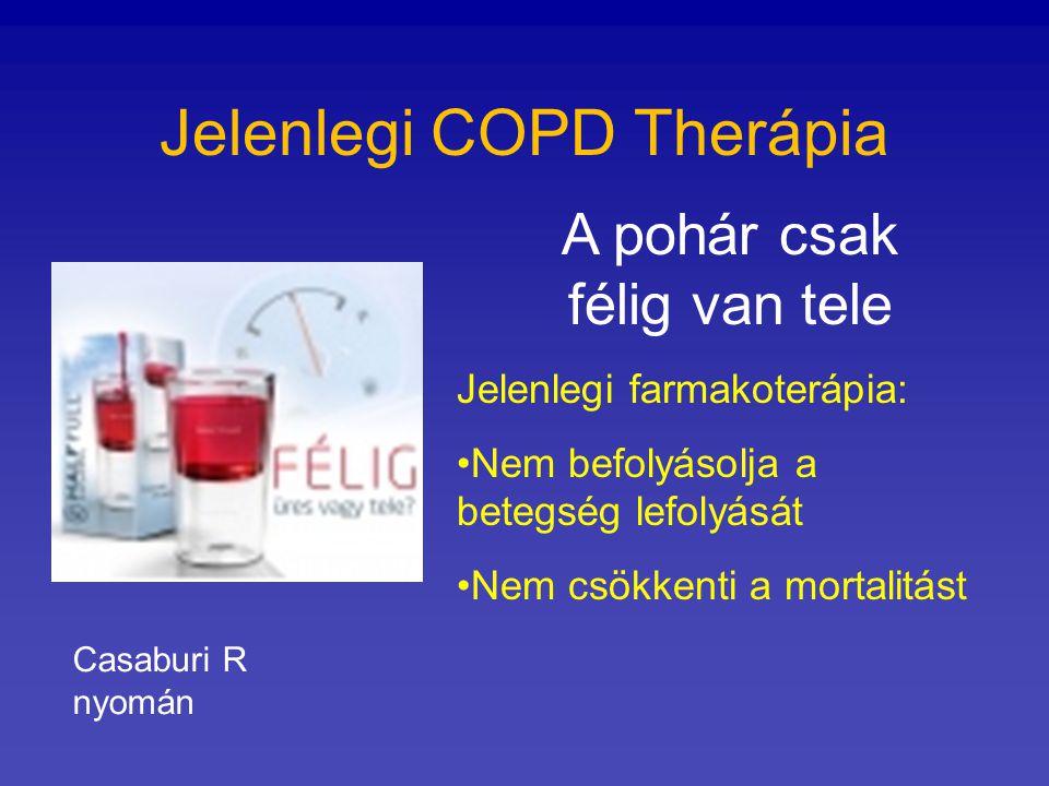 Jelenlegi COPD Therápia A pohár csak félig van tele Jelenlegi farmakoterápia: Nem befolyásolja a betegség lefolyását Nem csökkenti a mortalitást Casab