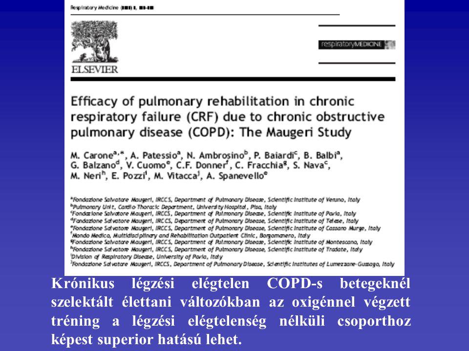 Krónikus légzési elégtelen COPD-s betegeknél szelektált élettani változókban az oxigénnel végzett tréning a légzési elégtelenség nélküli csoporthoz ké