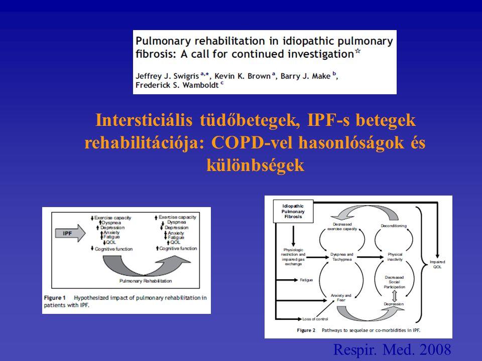Respir. Med. 2008 Intersticiális tüdőbetegek, IPF-s betegek rehabilitációja: COPD-vel hasonlóságok és különbségek
