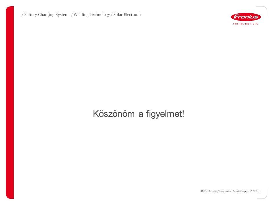 ISSM 2012 / Multiply Top Application / Froweld Hungary / 16.04.2012. Köszönöm a figyelmet!