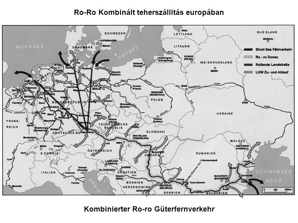 Kombinierter Ro-ro Güterfernverkehr Ro-Ro Kombinált teherszállitás europában