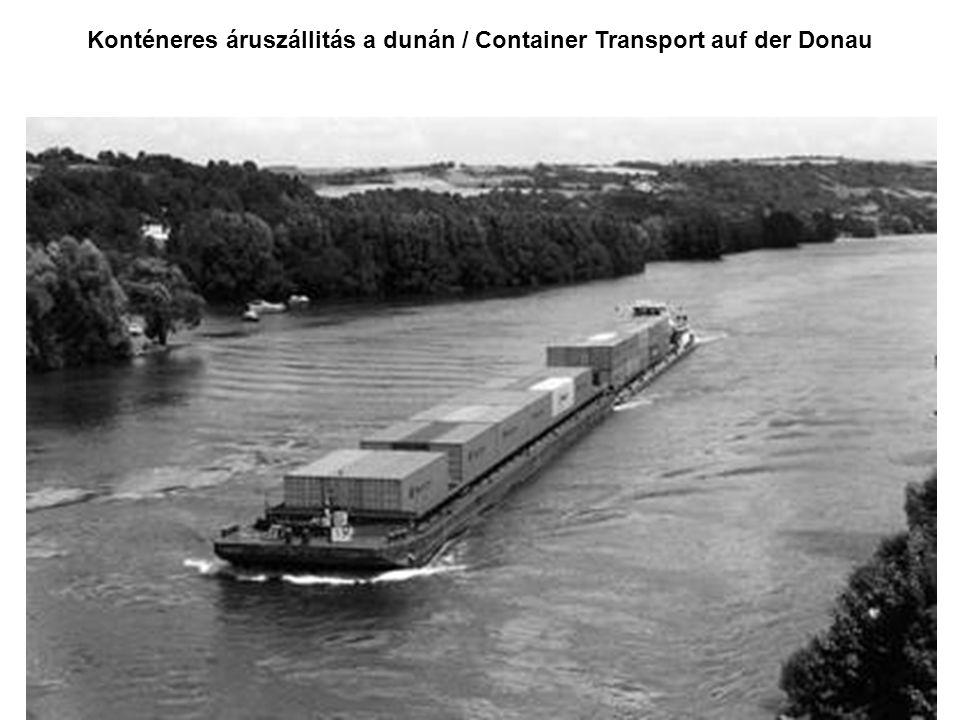 Konténeres áruszállitás a dunán / Container Transport auf der Donau