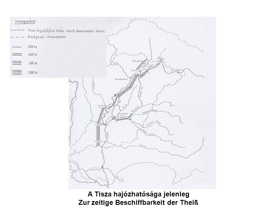 A Tisza hajózhatósága jelenleg Zur zeitige Beschiffbarkeit der Theiß