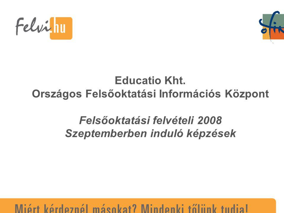 Educatio Kht. Országos Felsőoktatási Információs Központ Felsőoktatási felvételi 2008 Szeptemberben induló képzések