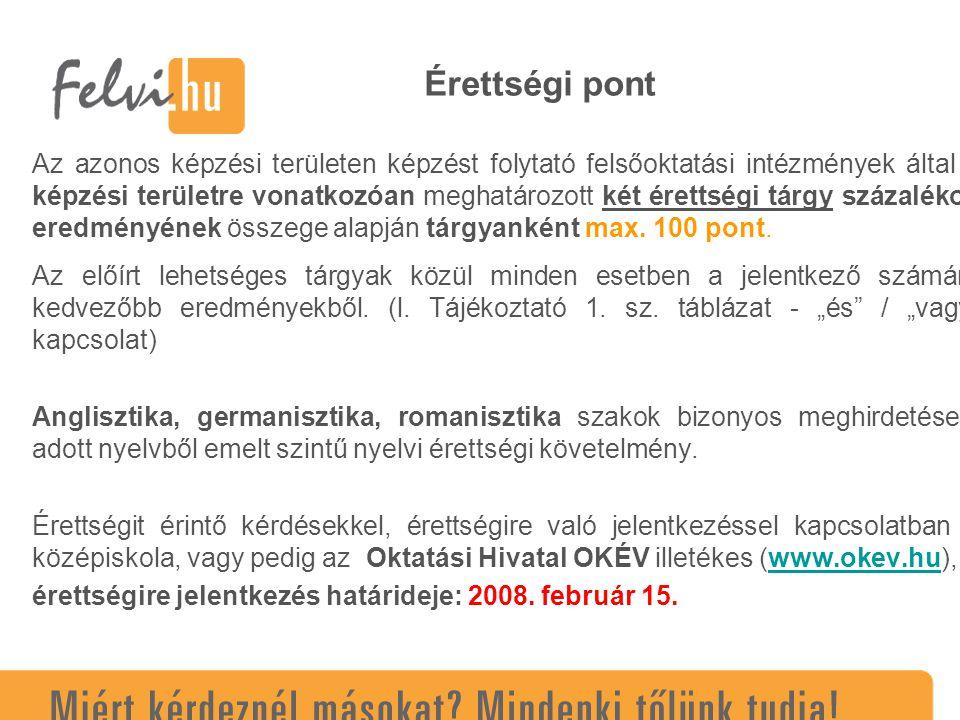 Többletpontok (A,O) A különböző jogcímeken elért többletpontok összege legfeljebb 80 pont lehet.