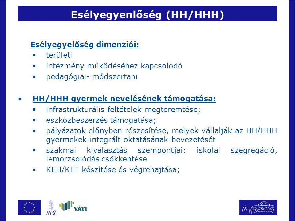 Esélyegyenlőség (HH/HHH) Esélyegyelőség dimenziói:  területi  intézmény működéséhez kapcsolódó  pedagógiai- módszertani HH/HHH gyermek nevelésének támogatása:  infrastrukturális feltételek megteremtése;  eszközbeszerzés támogatása;  pályázatok előnyben részesítése, melyek vállalják az HH/HHH gyermekek integrált oktatásának bevezetését  szakmai kiválasztás szempontjai: iskolai szegregáció, lemorzsolódás csökkentése  KEH/KET készítése és végrehajtása;