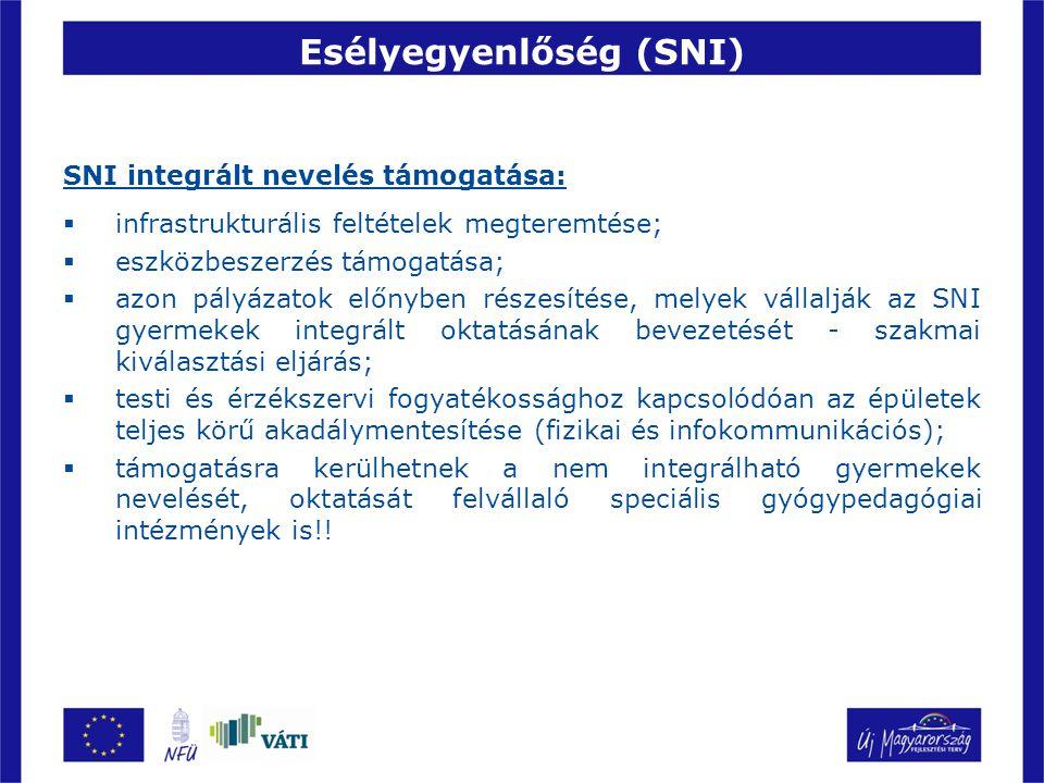 Esélyegyenlőség (SNI) SNI integrált nevelés támogatása:  infrastrukturális feltételek megteremtése;  eszközbeszerzés támogatása;  azon pályázatok előnyben részesítése, melyek vállalják az SNI gyermekek integrált oktatásának bevezetését - szakmai kiválasztási eljárás;  testi és érzékszervi fogyatékossághoz kapcsolódóan az épületek teljes körű akadálymentesítése (fizikai és infokommunikációs);  támogatásra kerülhetnek a nem integrálható gyermekek nevelését, oktatását felvállaló speciális gyógypedagógiai intézmények is!!