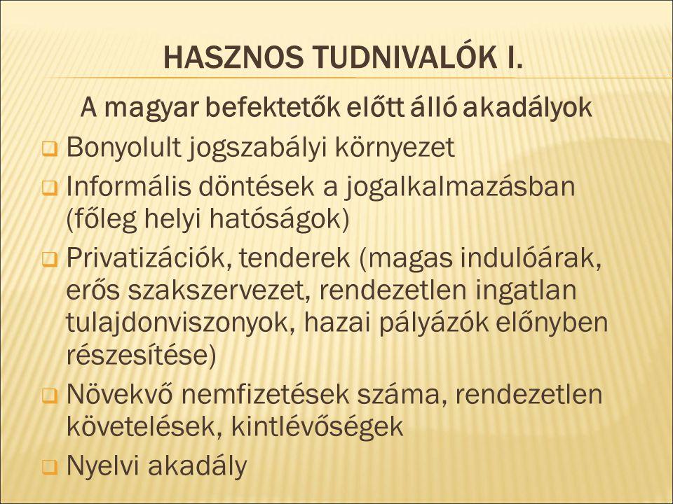 HASZNOS TUDNIVALÓK I. A magyar befektetők előtt álló akadályok  Bonyolult jogszabályi környezet  Informális döntések a jogalkalmazásban (főleg helyi