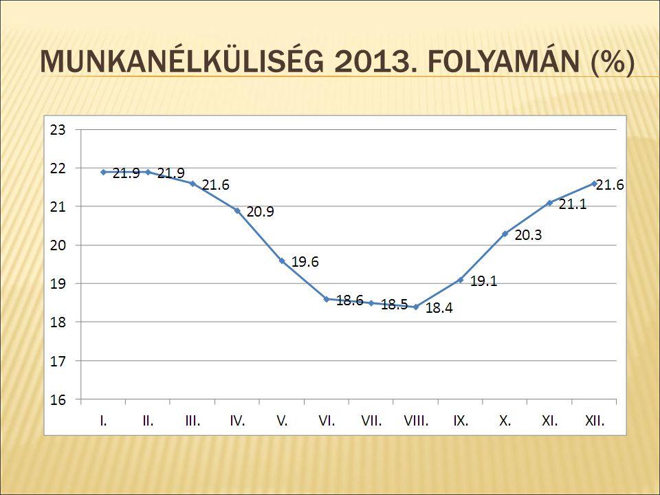LAKOSSÁGI FOGYASZTÁS VÁLTOZÁSA 2007-2013 KÖZÖTT (%)