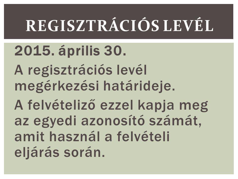 2015. április 30. A regisztrációs levél megérkezési határideje.