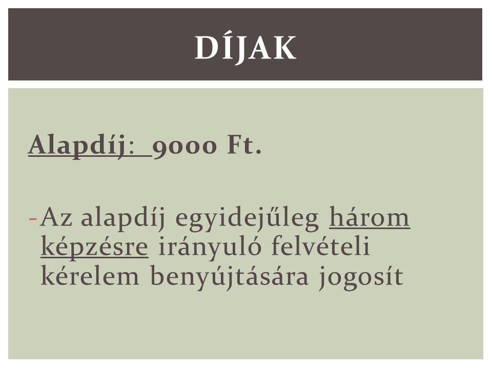 Alapdíj: 9000 Ft.