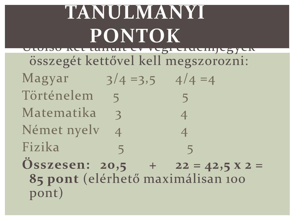 Utolsó két tanult év végi érdemjegyek összegét kettővel kell megszorozni: Magyar 3/4 =3,5 4/4 =4 Történelem 5 5 Matematika 3 4 Német nyelv 4 4 Fizika 5 5 Összesen: 20,5 + 22 = 42,5 x 2 = 85 pont (elérhető maximálisan 100 pont) TANULMÁNYI PONTOK
