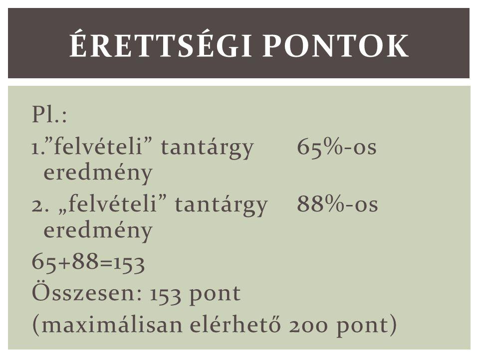 Pl.: 1. felvételi tantárgy 65%-os eredmény 2.