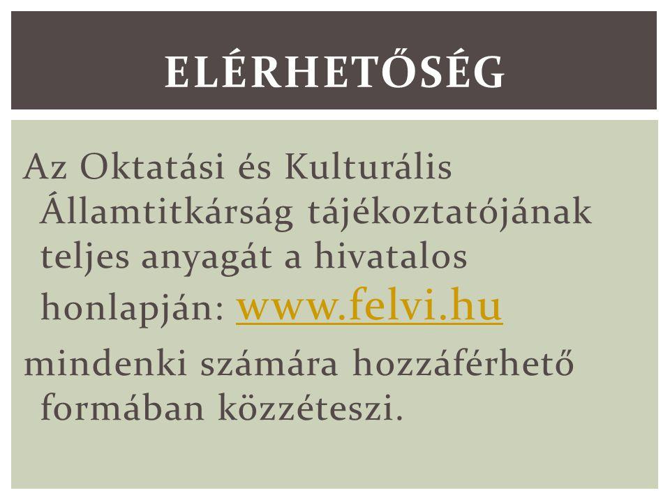 Az Oktatási és Kulturális Államtitkárság tájékoztatójának teljes anyagát a hivatalos honlapján: www.felvi.hu www.felvi.hu mindenki számára hozzáférhető formában közzéteszi.