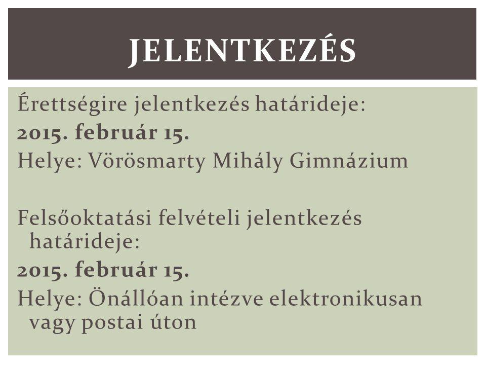 Érettségire jelentkezés határideje: 2015. február 15.