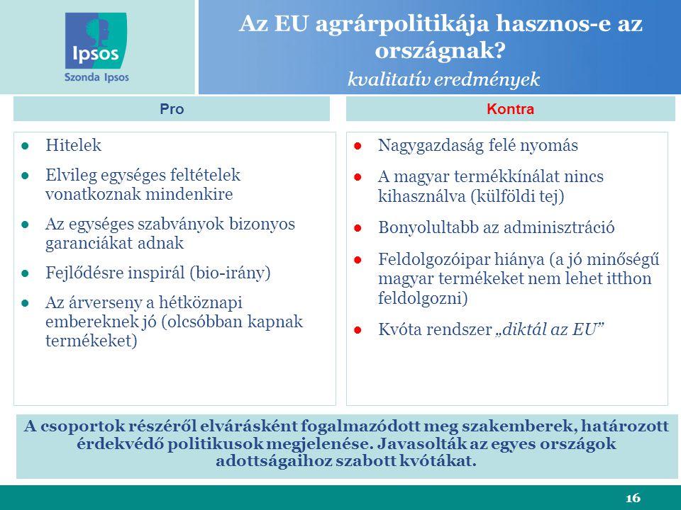 16 Az EU agrárpolitikája hasznos-e az országnak.