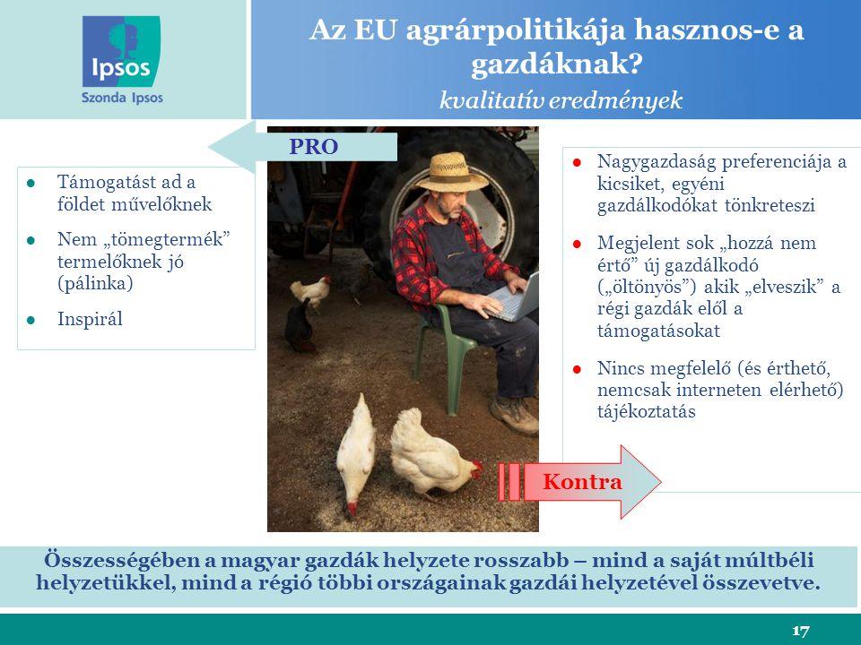 17 Az EU agrárpolitikája hasznos-e a gazdáknak.