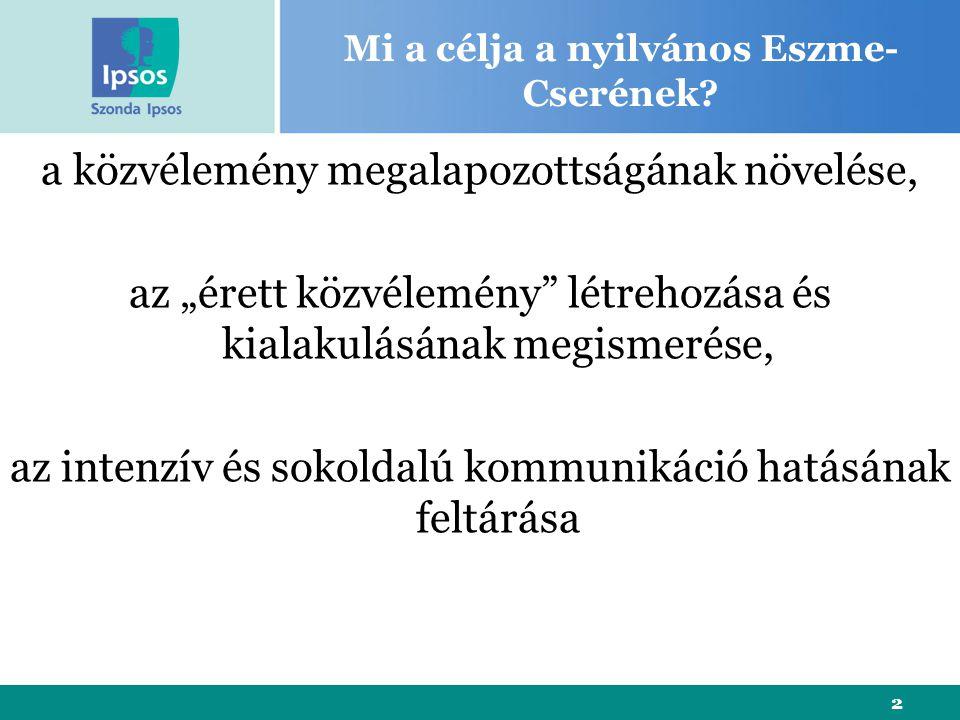 2 Mi a célja a nyilvános Eszme- Cserének.