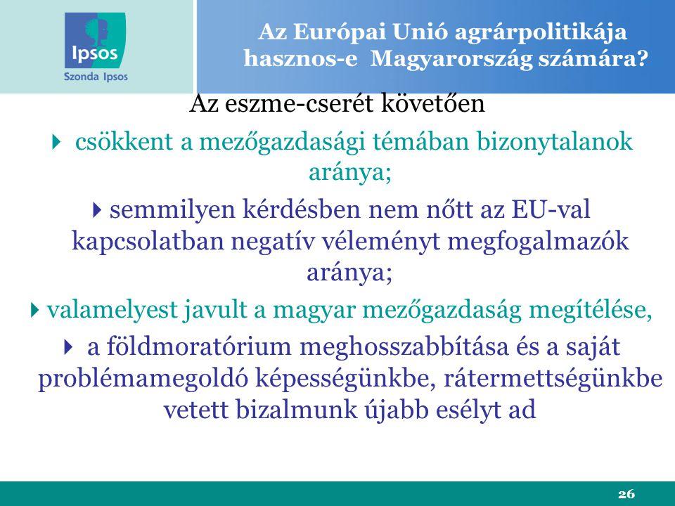 26 Az eszme-cserét követően  csökkent a mezőgazdasági témában bizonytalanok aránya;  semmilyen kérdésben nem nőtt az EU-val kapcsolatban negatív véleményt megfogalmazók aránya;  valamelyest javult a magyar mezőgazdaság megítélése,  a földmoratórium meghosszabbítása és a saját problémamegoldó képességünkbe, rátermettségünkbe vetett bizalmunk újabb esélyt ad Az Európai Unió agrárpolitikája hasznos-e Magyarország számára