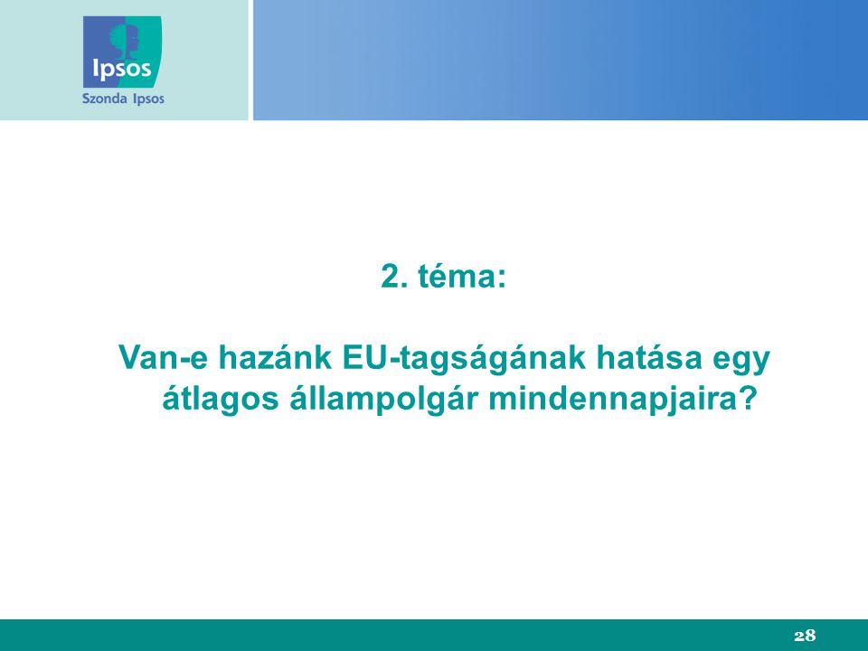 28 2. téma: Van-e hazánk EU-tagságának hatása egy átlagos állampolgár mindennapjaira