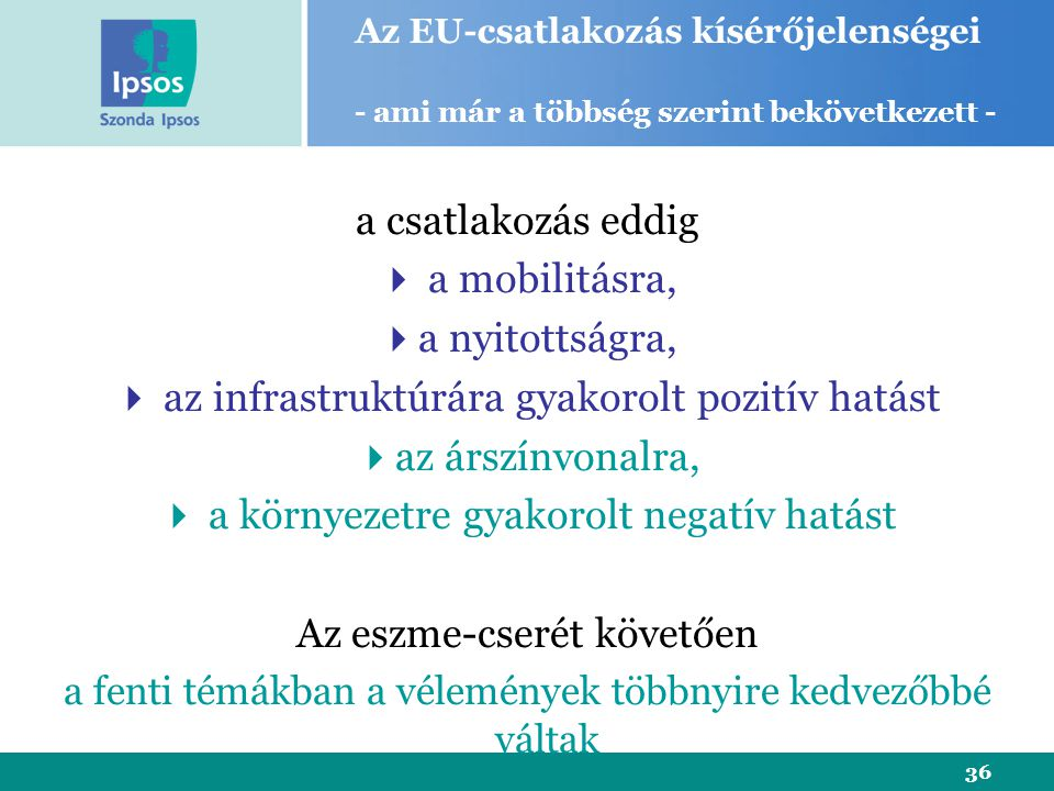 36 a csatlakozás eddig  a mobilitásra,  a nyitottságra,  az infrastruktúrára gyakorolt pozitív hatást  az árszínvonalra,  a környezetre gyakorolt negatív hatást Az eszme-cserét követően a fenti témákban a vélemények többnyire kedvezőbbé váltak Az EU-csatlakozás kísérőjelenségei - ami már a többség szerint bekövetkezett -