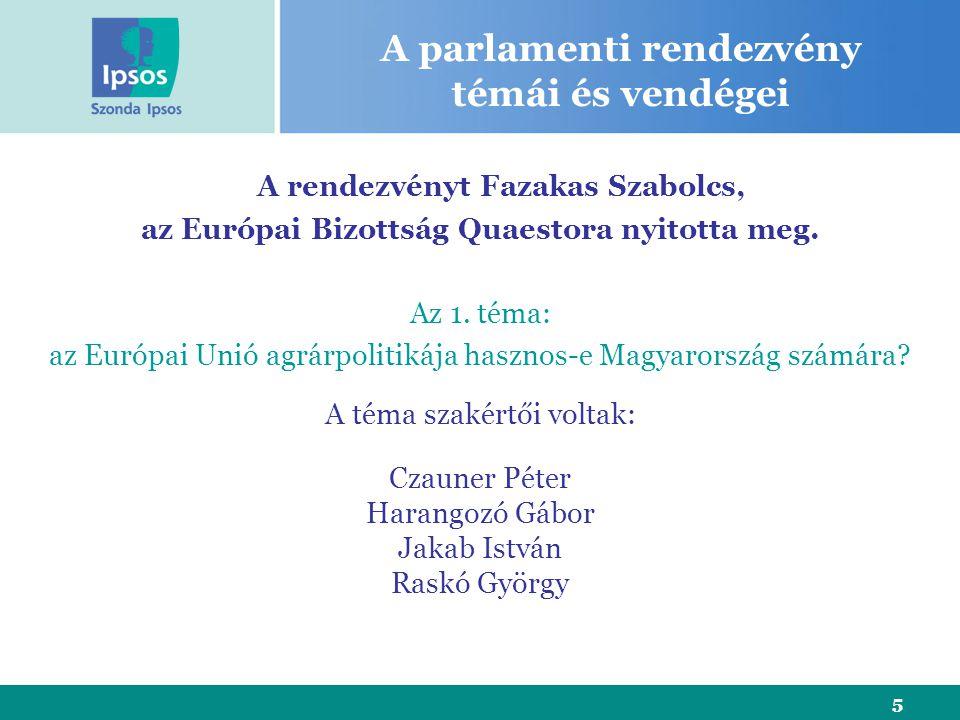 5 A parlamenti rendezvény témái és vendégei A rendezvényt Fazakas Szabolcs, az Európai Bizottság Quaestora nyitotta meg.