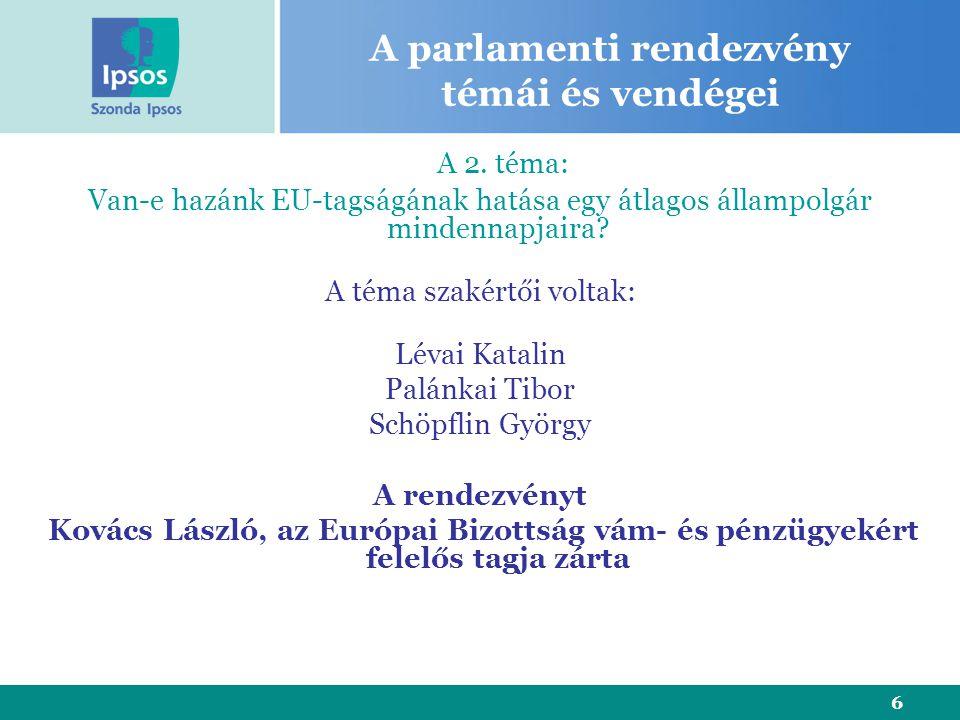 6 A parlamenti rendezvény témái és vendégei A 2.