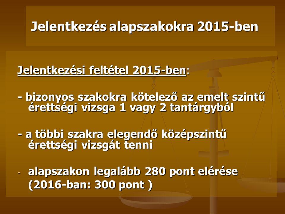 2015 Változások a felsőoktatási felvételi eljárásokban 2013.