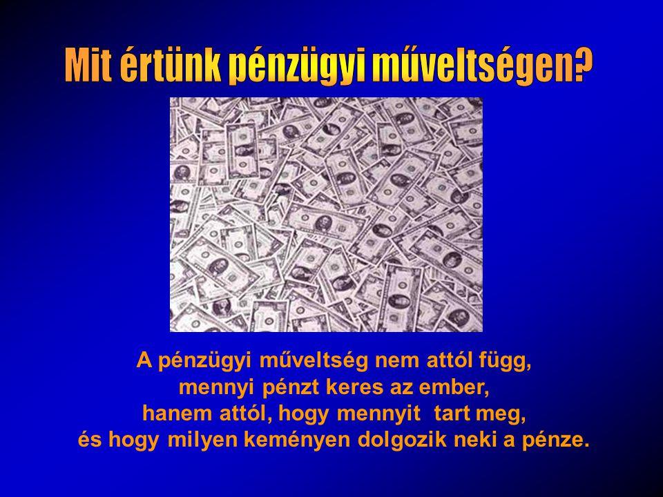 A pénzügyi műveltség nem attól függ, mennyi pénzt keres az ember, hanem attól, hogy mennyit tart meg, és hogy milyen keményen dolgozik neki a pénze.