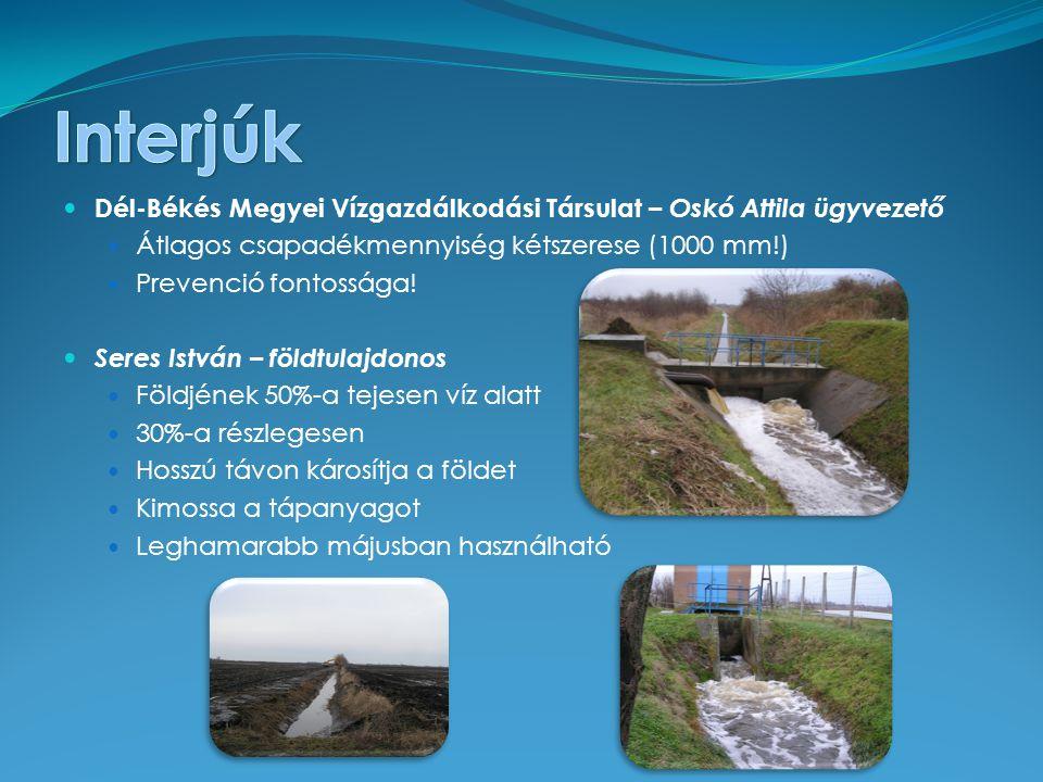 Dél-Békés Megyei Vízgazdálkodási Társulat – Oskó Attila ügyvezető Átlagos csapadékmennyiség kétszerese (1000 mm!) Prevenció fontossága.