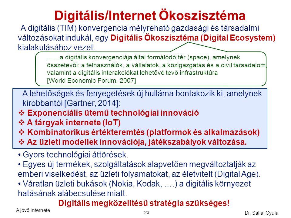 Dr. Sallai Gyula 20 Digitális/Internet Ökoszisztéma A digitális (TIM) konvergencia mélyreható gazdasági és társadalmi változásokat indukál, egy Digitá