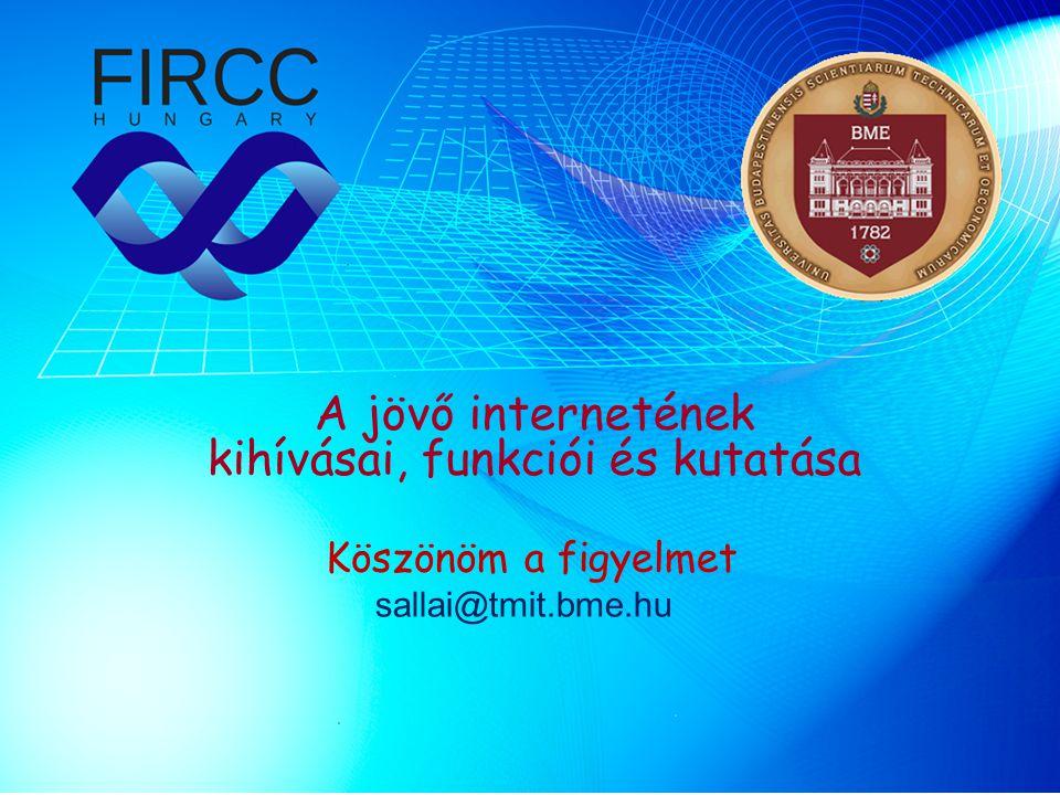 A jövő internetének kihívásai, funkciói és kutatása Köszönöm a figyelmet sallai@tmit.bme.hu