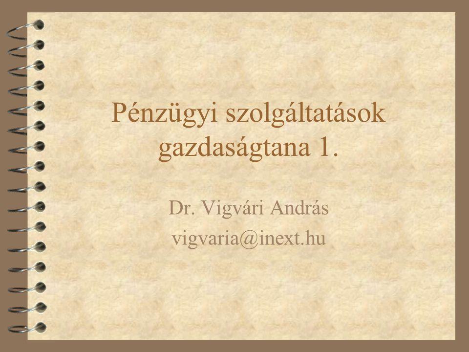 Pénzügyi szolgáltatások gazdaságtana 1. Dr. Vigvári András vigvaria@inext.hu
