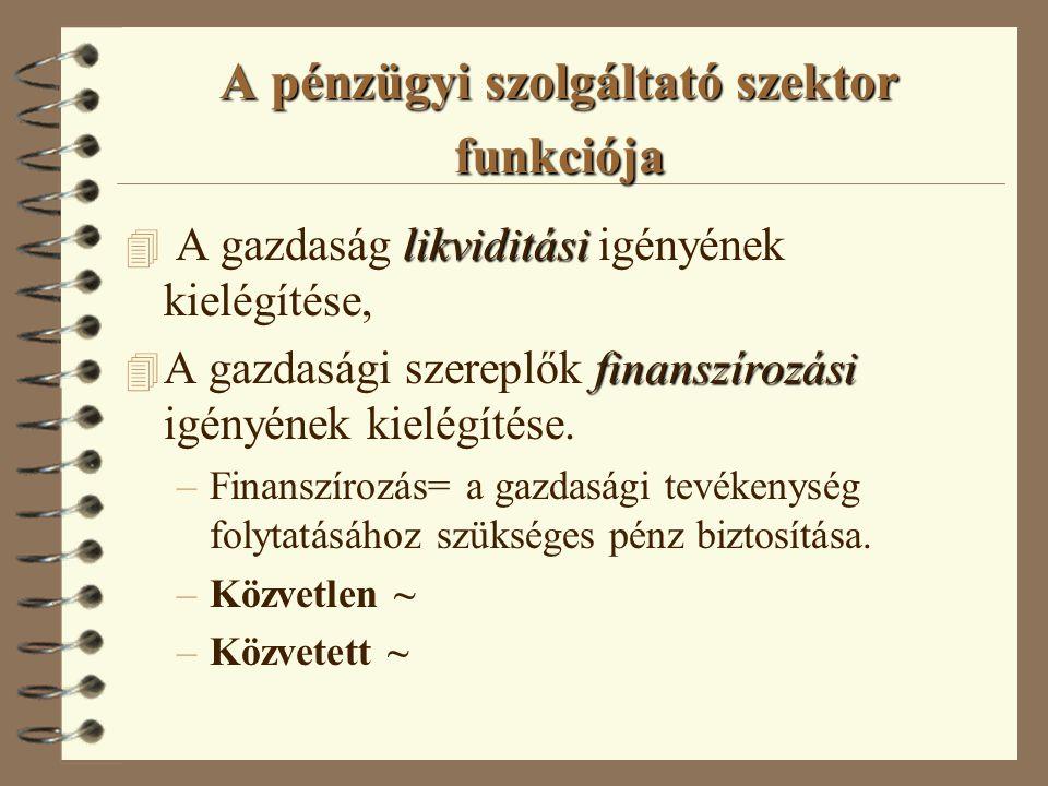 A pénzügyi szolgáltató szektor funkciója likviditási 4 A gazdaság likviditási igényének kielégítése, finanszírozási 4 A gazdasági szereplők finanszíro