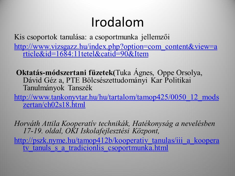 Irodalom Kis csoportok tanulása: a csoportmunka jellemzői http://www.vizsgazz.hu/index.php?option=com_content&view=a rticle&id=1684:11tetel&catid=90&I