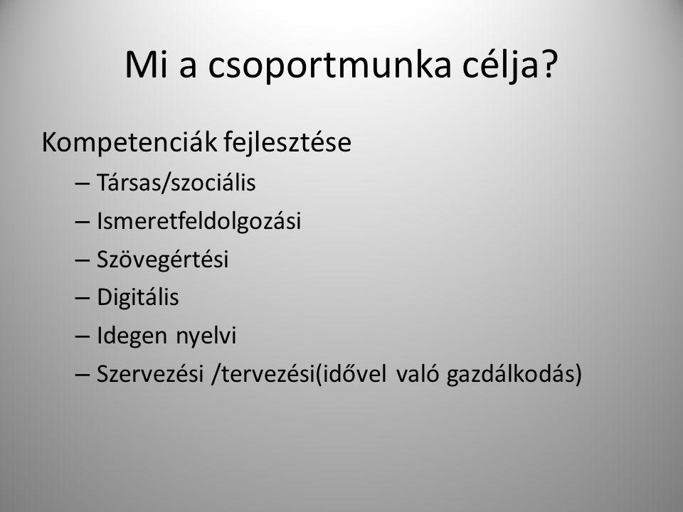 Mi a csoportmunka célja? Kompetenciák fejlesztése – Társas/szociális – Ismeretfeldolgozási – Szövegértési – Digitális – Idegen nyelvi – Szervezési /te