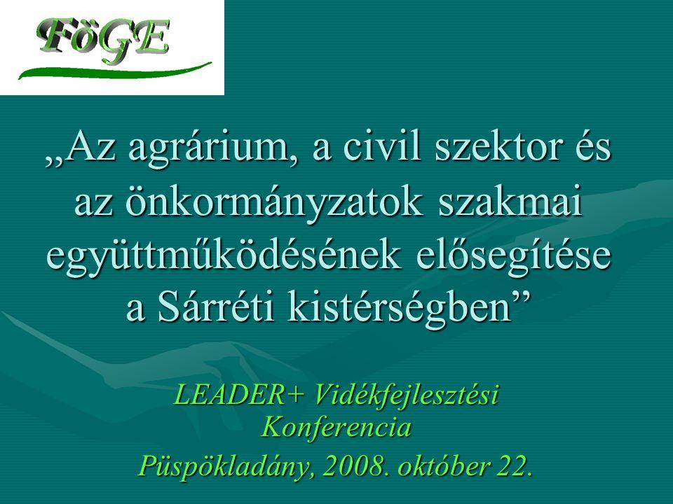 """"""" Az agrárium, a civil szektor és az önkormányzatok szakmai együttműködésének elősegítése a Sárréti kistérségben LEADER+ Vidékfejlesztési Konferencia Püspökladány, 2008."""