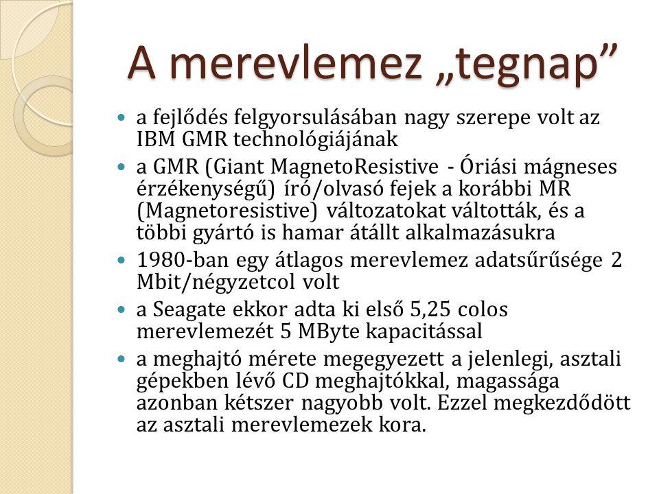 """A merevlemez """"tegnap"""" a fejlődés felgyorsulásában nagy szerepe volt az IBM GMR technológiájának a GMR (Giant MagnetoResistive - Óriási mágneses érzéke"""